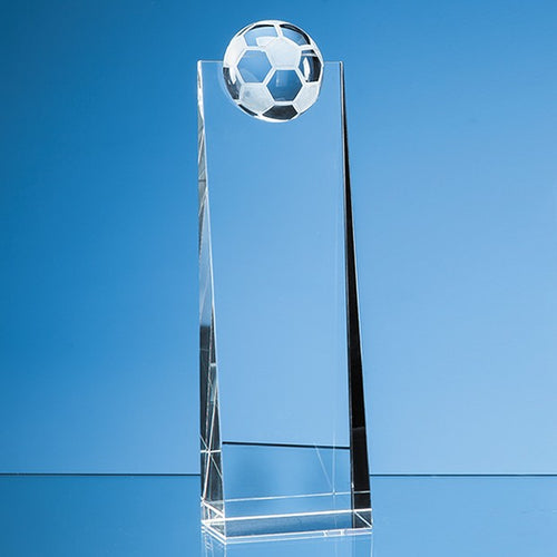 Personalised 24cm Optical Crystal Football Rectangle Award