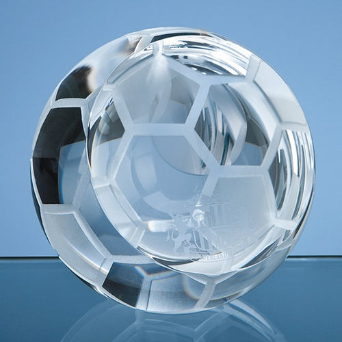 Personalised 6cm Optical Crystal Football Paperweight