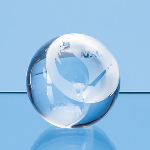 Personalised 8cm Optical Crystal Sliced Ball with a Flat Front