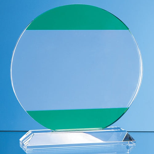 Personalised 16.5cm Clear & Light Emerald Green Optical Crystal Circle Award