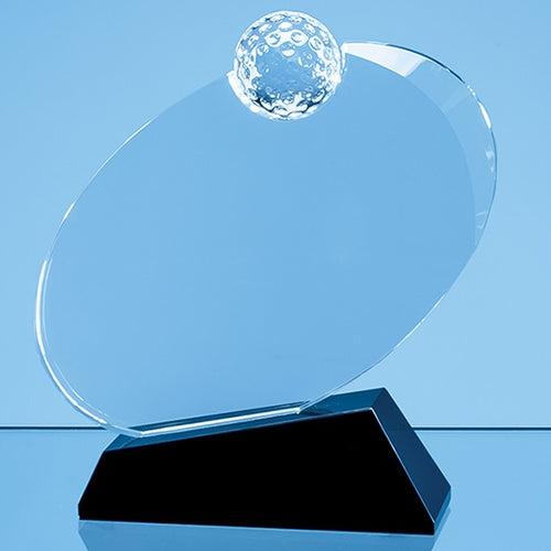 Personalised 16cm Optical Crystal Golf Ball Award Mounted on an Onyx Black Base