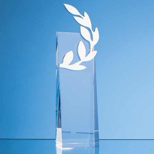 Personalised 24 cm Crystal Silver Laurel Leaf Award