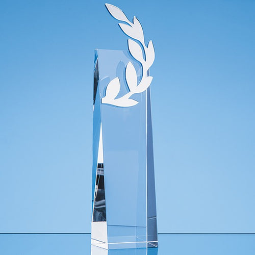 Personalised 26 cm Crystal Silver Laurel Leaf Award