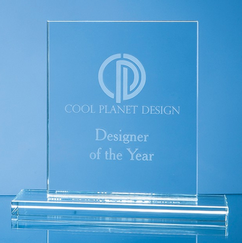 Engraved 12 cm Clear Glass Rectangle Award