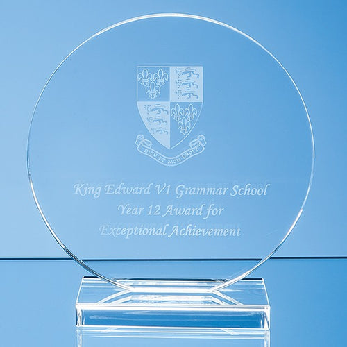 Personalised 15cm x 12mm Clear Glass Circle Award
