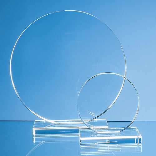 Personalised 20cm x 12mm Clear Glass Circle Award
