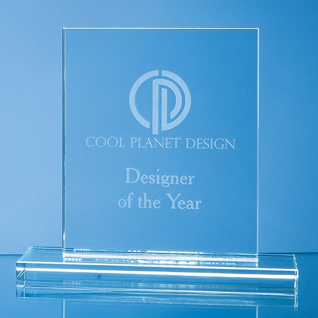 Engraved 15 cm Clear Glass Rectangle Award