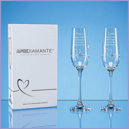 Personalised Petite Heart Champagne Flute Set