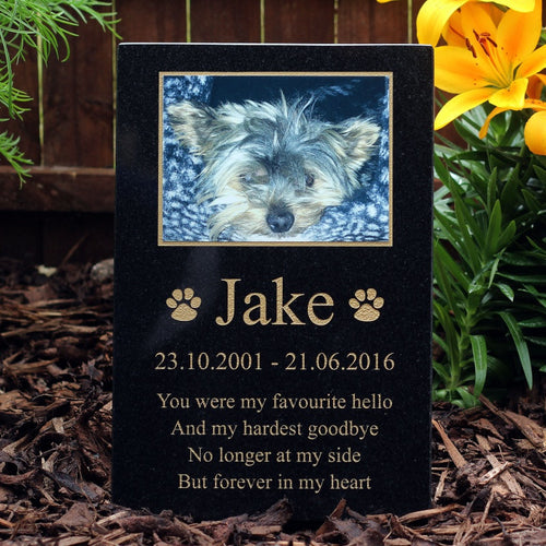 Black Granite Photo Pet Memorial Range