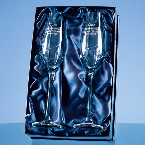 Personalised Kiss Cut Champagne Flute  Set