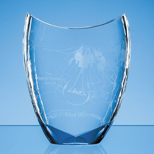 Personalised 20.5cm Nik Meller Design Clear Optical Crystal & Cobalt Blue Divine Award