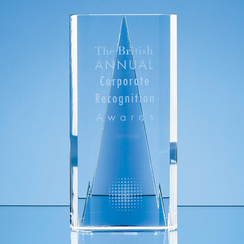 Personalised 20.5cm Nik Meller Design Clear Optical Crystal & Cobalt Blue Savanna Award