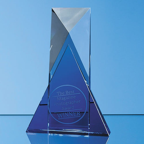Personalised 18cm Nik Meller Design Clear Optical Crystal & Cobalt Blue Mixx Award