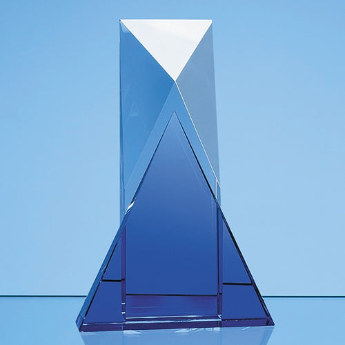 Personalised 23cm Nik Meller Design Clear Optical Crystal & Cobalt Blue Mixx Award