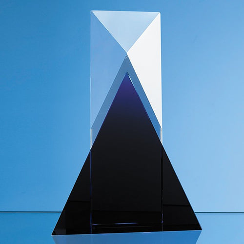 Personalised 28cm Nik Meller Design Clear Optical Crystal & Cobalt Blue Mixx Award