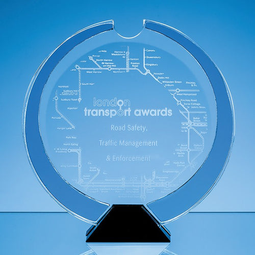 Personalised 23cm Nik Meller Design Clear Optical Crystal, Cobalt Blue & Black Base Atlas Award