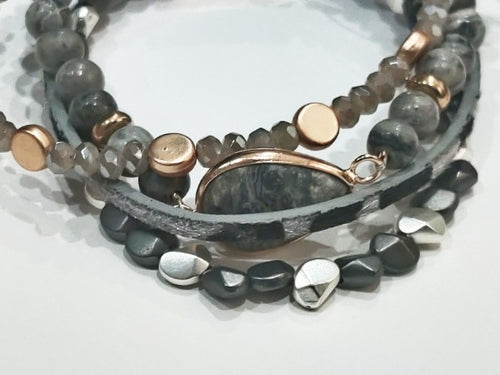 Black & Gray Snakeskin Layered Bracelet