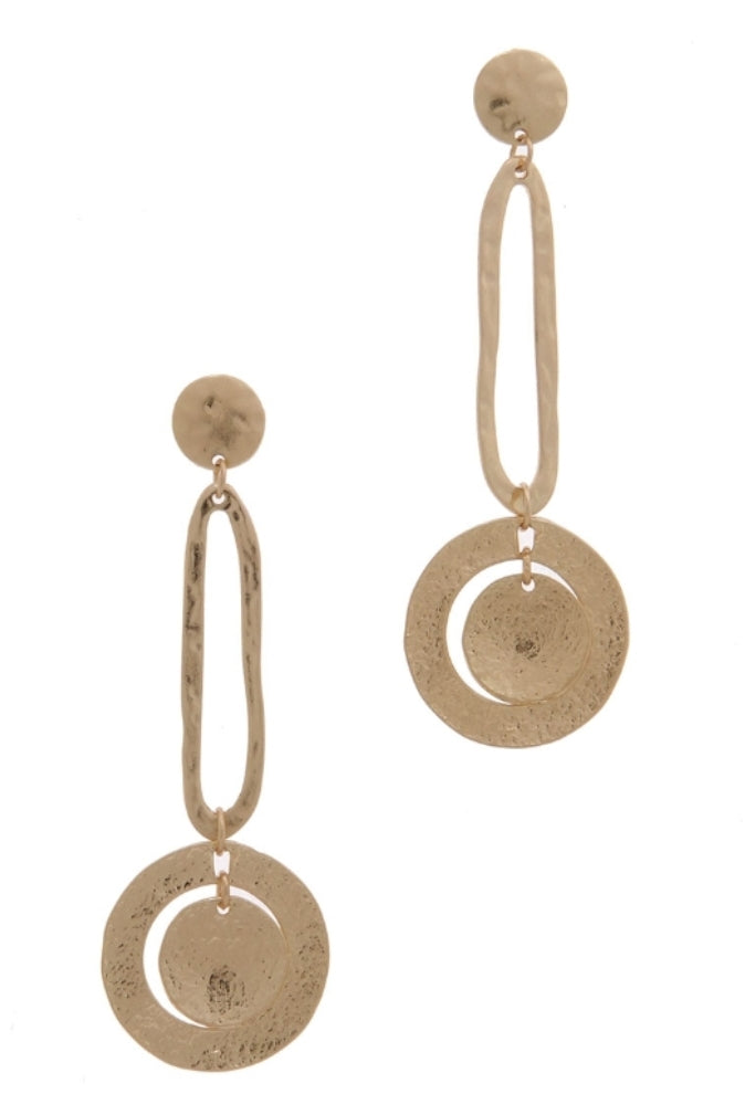 Jirina Hammered Metal Drop Earrings