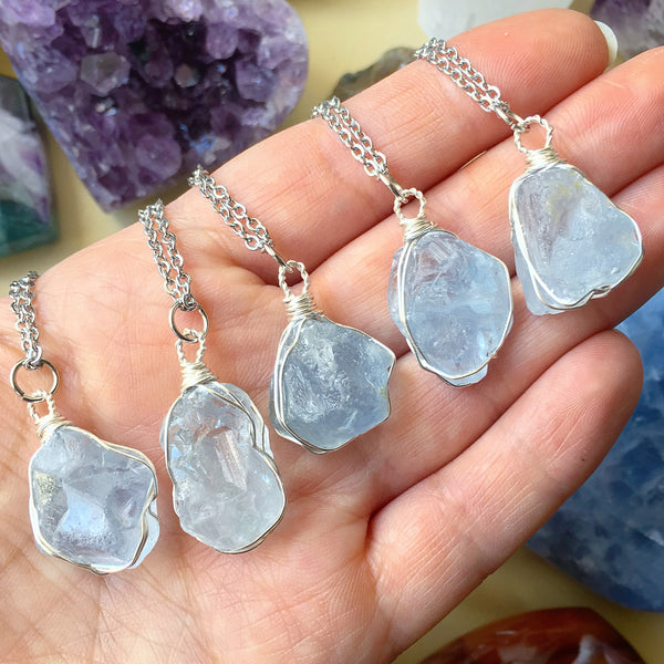 celestite crystal Pendant Celestite Wire Wrapped Necklace midsummer jewelry gift Guardian Angel Talisman Crystal Gift for Friendship