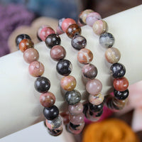 Rhodonite 8mm beaded bracelet