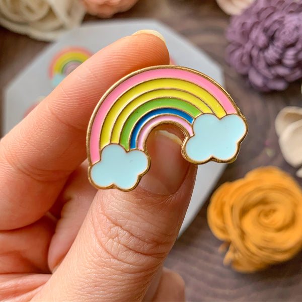 Pink Rainbow with Clouds Enamel Pin