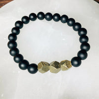 Pyrite and Black Agate Bracelet