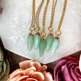 Small Green Aventurine Gold Pendant Necklace