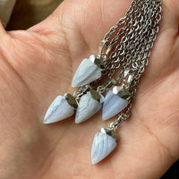 Small Blue Lace Agate Necklace (Choose Pendant)