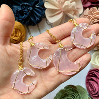 Rose Quartz Moon Necklace