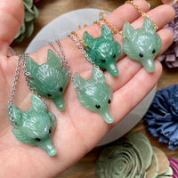 Green Aventurine Wolf Head Necklace