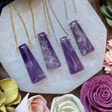 Amethyst Bar Pendant Necklace (Choose Style)