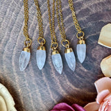 Small Clear Quartz Gold Pendant Necklace