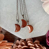 Small Goldstone Moon Necklace