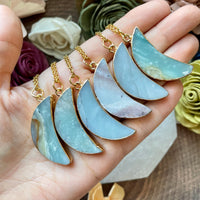Gold Plated Amazonite Moon Pendant Necklace