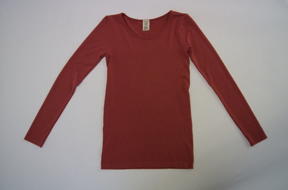 Bamboo basic one size long sleeve scoop neck t-shirt