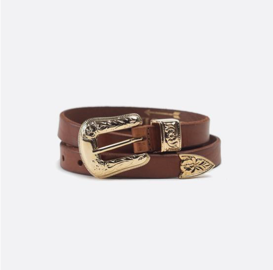 Rosette brown leather slim belt with gold buckle