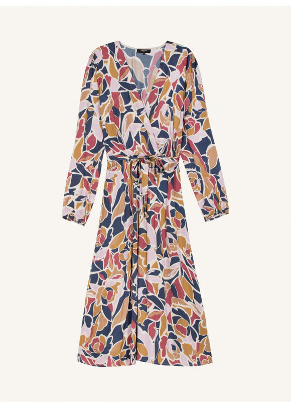 frnch assile floral wrap midi dress