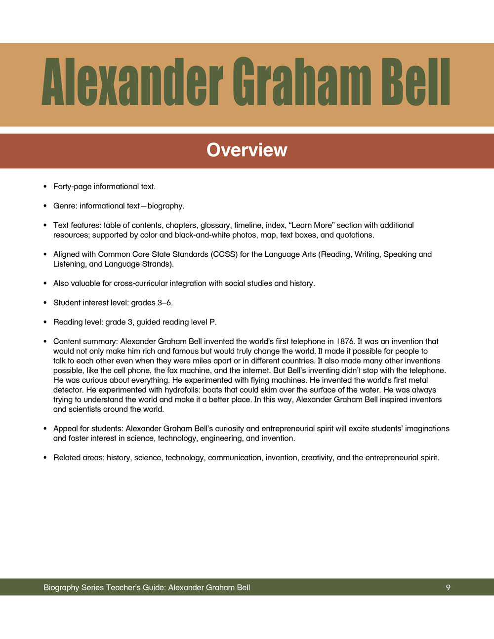 Alexander Graham Bell Teacher's Guide