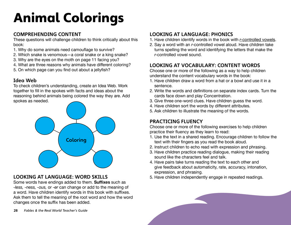 Animal Colorings Teacher's Guide