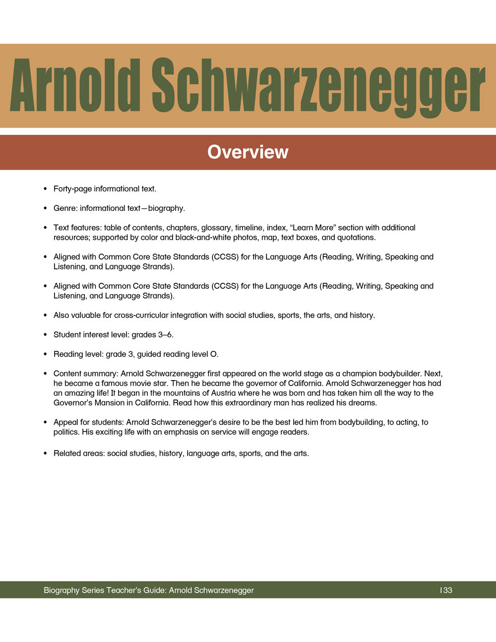 Arnold Schwarzenegger Teacher's Guide
