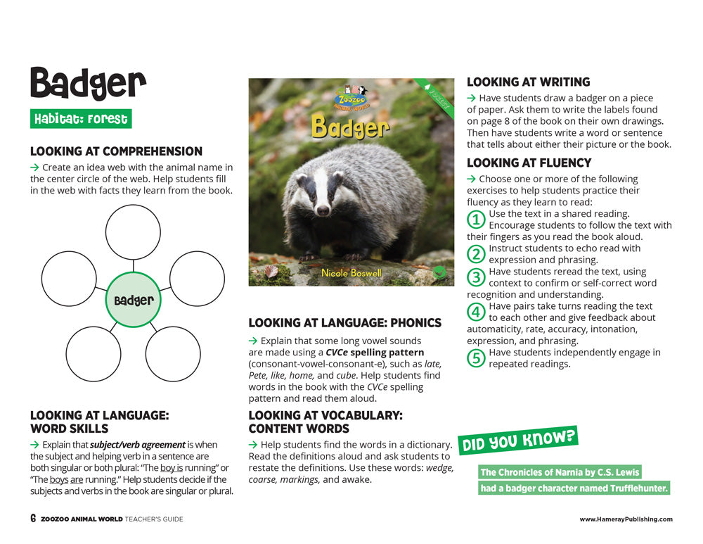 Badger Teacher's Guide