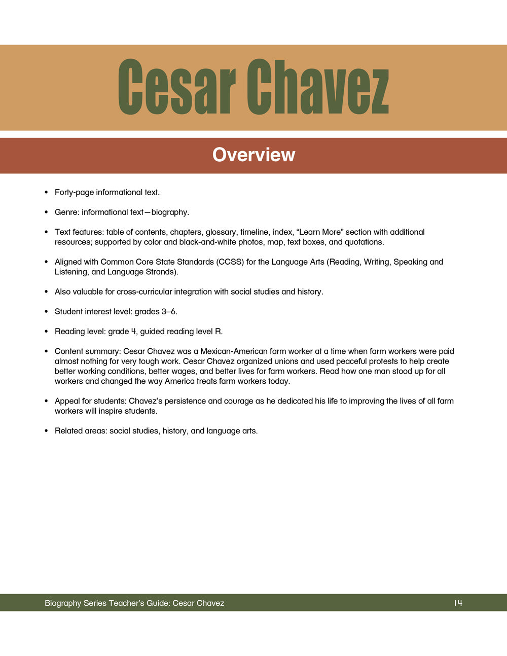 Cesar Chavez Teacher's Guide
