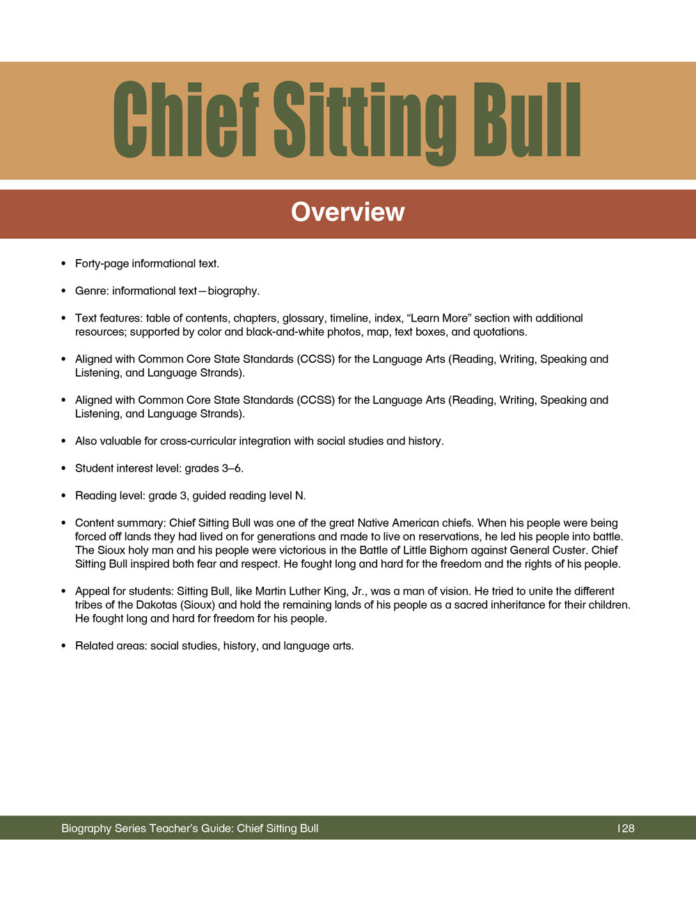Chief Sitting Bull Teacher's Guide