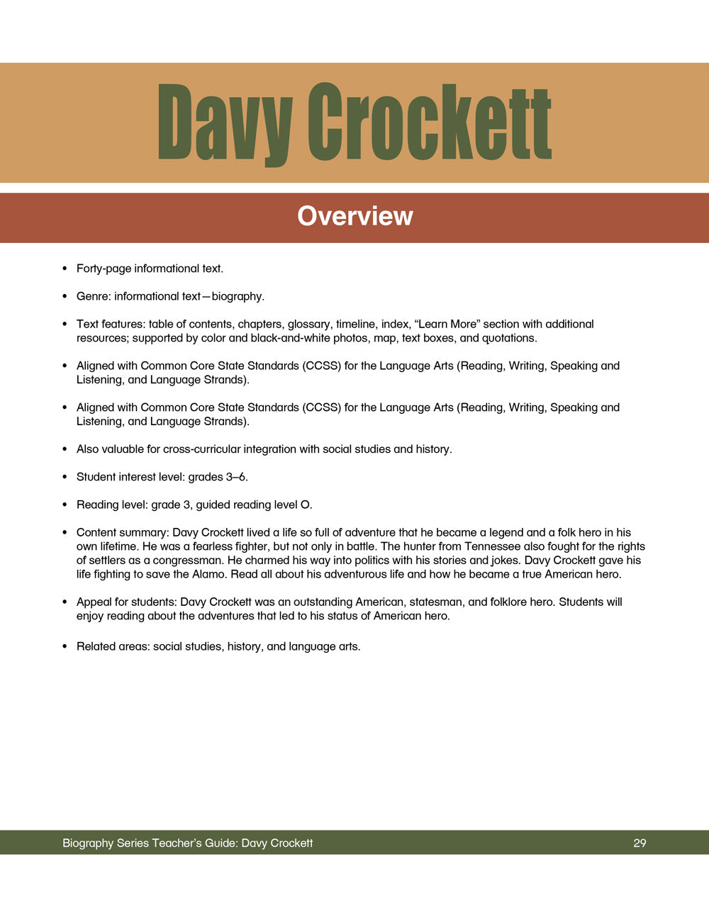 Davy Crockett Teacher's Guide
