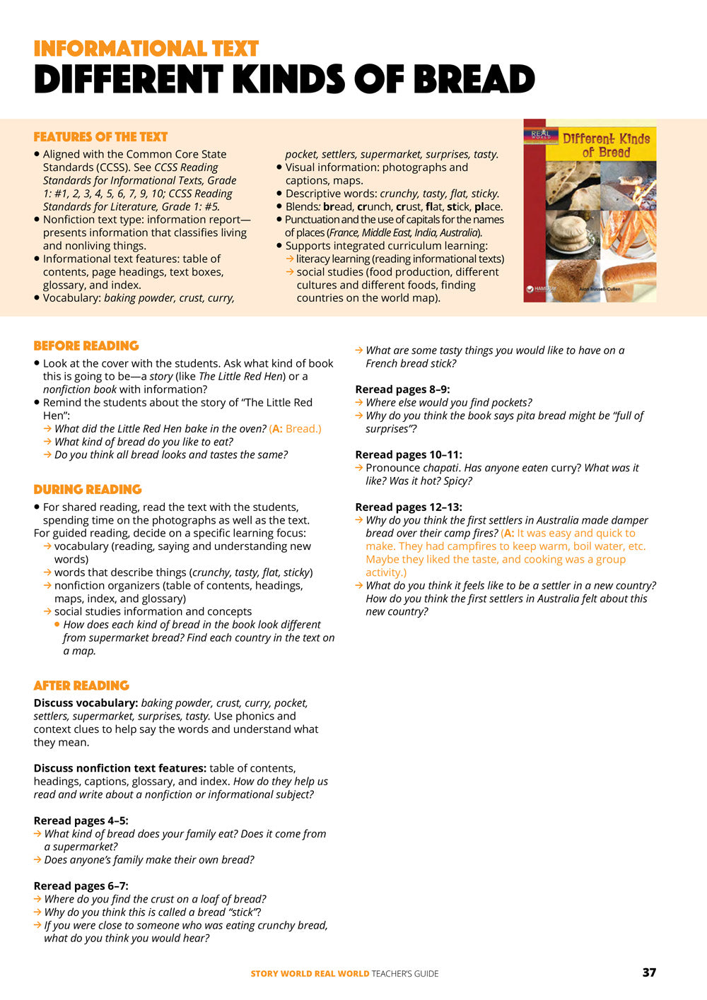 Different Kinds of Bread Teacher's Guide