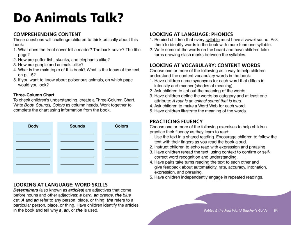 Do Animals Talk? Teacher's Guide
