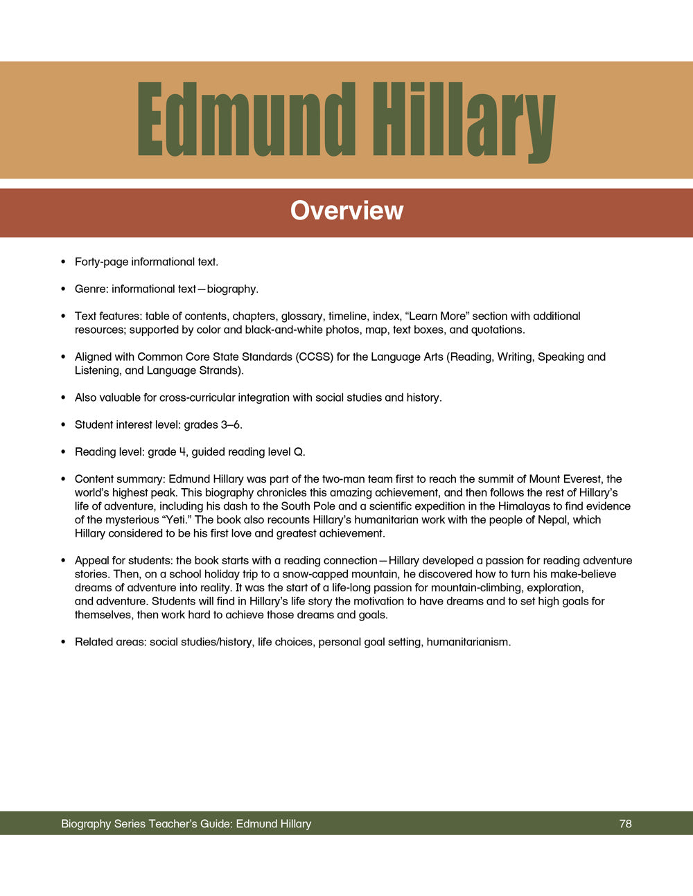 Edmund Hillary Teacher's Guide