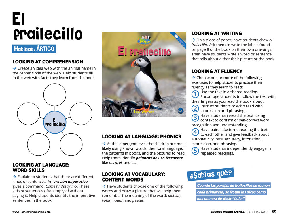 El frailecillo Teacher's Guide