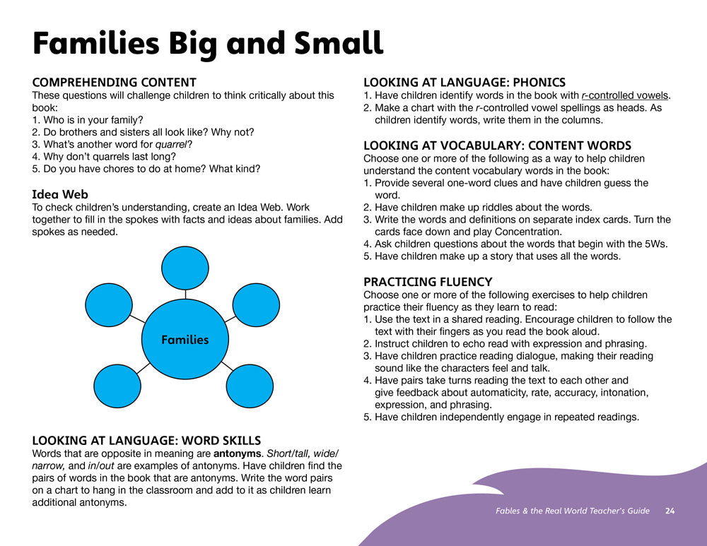 Families Big and Small Teacher's Guide