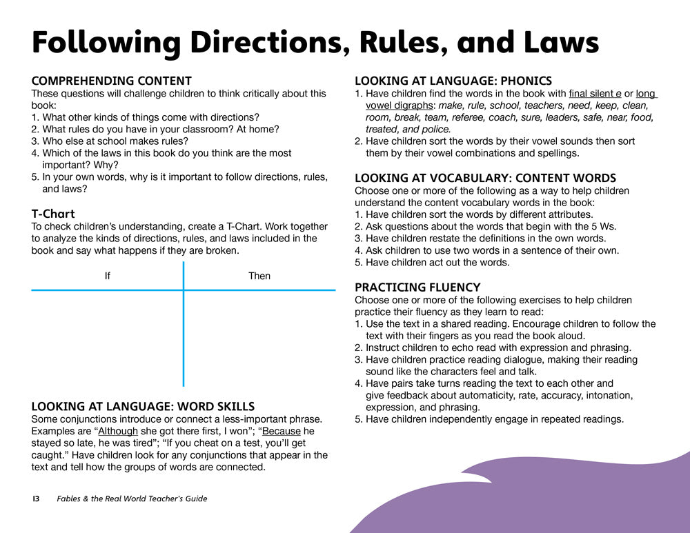 Following Directions, Rules, and Laws Teacher's Guide